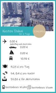 Kosten Dubai für 2 Tage