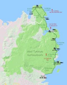 Wanderkarte vom Abel Tasman Coast Track