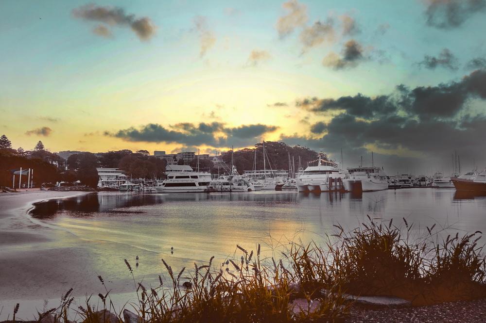 Port Stephens, Nelson Bay Sonnenuntergang am Strand.