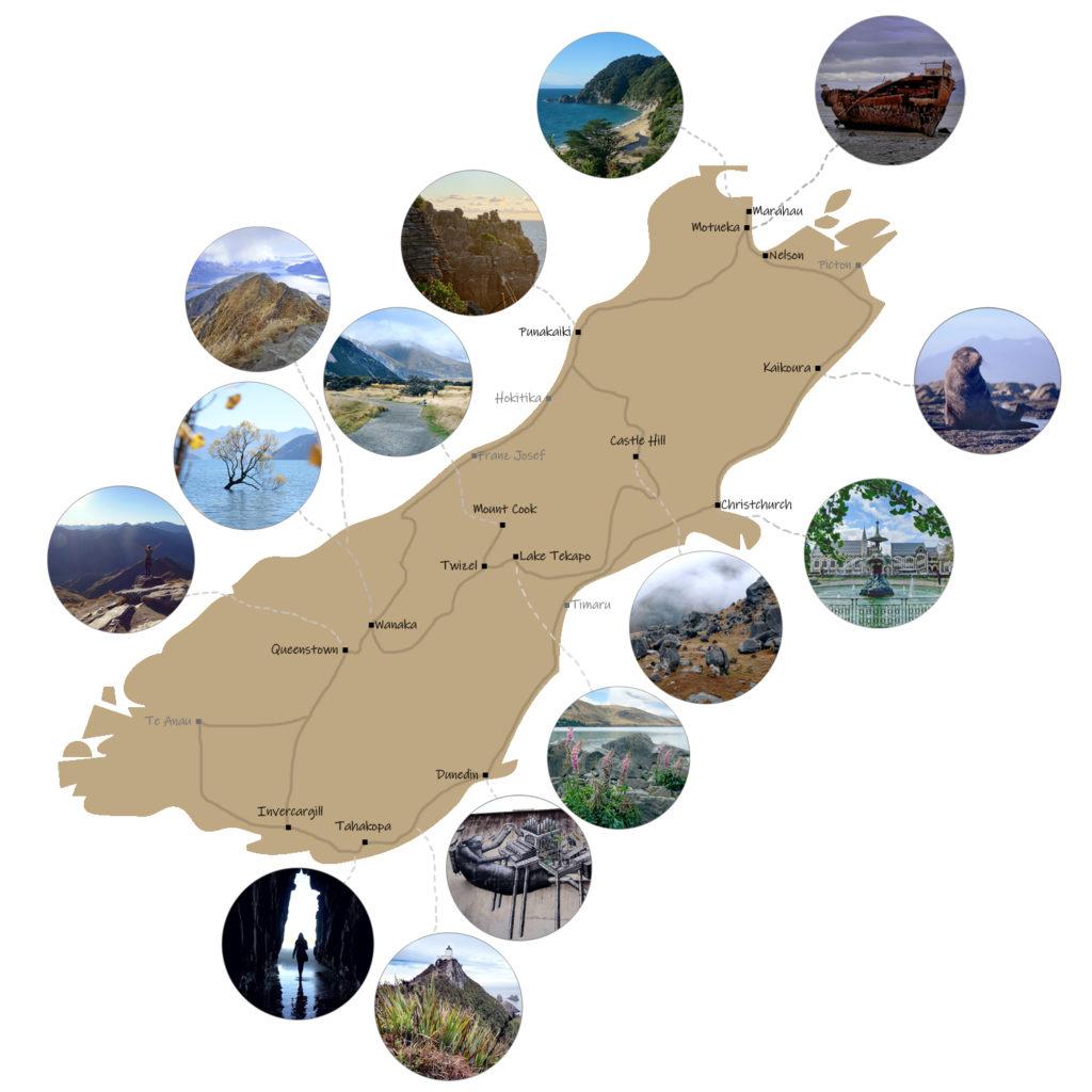 Karte Neuseeland Südinsel mit Routenvorschlag.