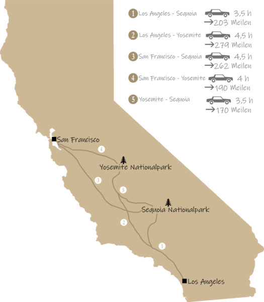 Anfahrt Yosmite Nationalpark und Sequoia Nationalpark von Los Angeles und San Francisco aus